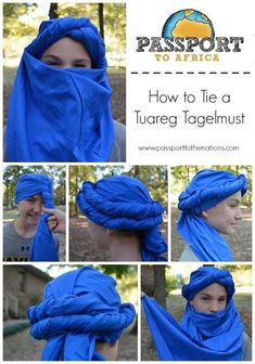 How to tie a Tuareg Tagelmust – Scarf Ideas 2020 Larp, Arabian Nights Costume, Arabian Costumes, Costume Ethnique, Tactical Clothing, Cosplay Tutorial, Creative Costumes, African Culture, Headdress