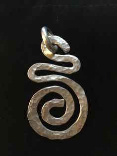 Funky Silver Metal Swirl Pendant by CricketBArtsy on Etsy