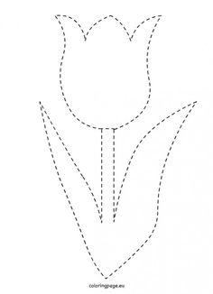traceable-tulip-template – Famous Last Words Applique Patterns, Applique Designs, Flower Patterns, Quilt Patterns, String Art Templates, String Art Patterns, Do A Dot, Flower Template, Banner Template