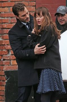 Jamie Dornan Consoles an Upset Dakota Johnson for 'Fifty Shades Darker' Scene: Photo Jamie Dornan consoles a visibly upset Dakota Johnson while filming a scene for their upcoming movie Fifty Shades Darker on Tuesday afternoon (March in Vancouver,… Fifty Shades Darker Book, Shades Of Grey Book, Fifty Shades Movie, Fifty Shades Trilogy, Gideon Cross, Christian Grey, Emerson, Dakota Johnson Movies, Luke Grimes