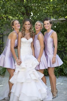 short satin purple bridesmaids dresses