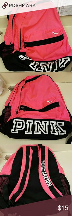 Bookbag Pink (pink) book bag in used condition,lugged it around 1 semester. PINK Victoria's Secret Bags Backpacks