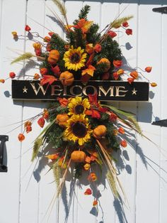 Fall Swag Wreath Fall Door Wreath Front Door by hollyhillwreaths