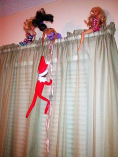 Elf Candy Cane Ladder Eldon is at it again. Climbing up his candy cane ladder to hang out with his lady friends! L Elf, Awesome Elf On The Shelf Ideas, Elf Auf Dem Regal, Elf On The Self, Holiday Fun, Holiday Decor, Holiday Ideas, Naughty Elf, Barbie