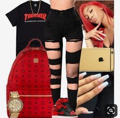 A fashion look from February 2018 featuring tee-shirt, ripped skinny jeans and red backpack. Browse and shop related looks. Swag Outfits For Girls, Cute Outfits For School, Teenage Girl Outfits, Cute Swag Outfits, Teenager Outfits, Nike Outfits, Teen Fashion Outfits, Trendy Outfits, Fashion Tips