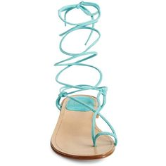 Stuart Weitzman 'Nieta' Lace-Up Flat Sandal ($149) ❤ liked on Polyvore featuring shoes, sandals, lace up gladiator sandals, wrap around sandals, flat sandals, flat shoes and toe loop sandals