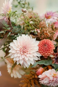 Autumn centerpiece with dahlias, amaranth, and lots of textural greenery.  Grown and designed by Love 'n Fresh Flowers.  Photo by Maria Mack Photography.