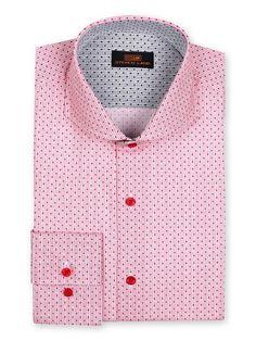 Men's Dress Shirt by Steven Land - Micro Dot Red