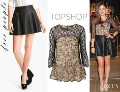 Lucy Hales Topshop Paisley Lace Insert Peplum Top And Free People Faux Leather Skirt