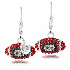 Officially Licensed Ohio State Buckeyes sterling silver and Swarovski crystal football earrings. $39
