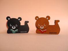Cute Wooden Bear Tape Dispenser