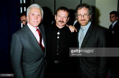 Kirk Douglas, Robin Williams and Steven Spielberg during 1994 ShoWest in Las Vegas, Nevada, United States. (Photo by Jeff Kravitz/FilmMagic, Inc)