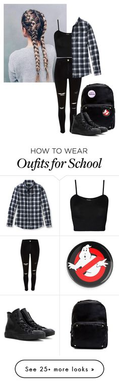 """""""OOTD - School Today 😫😒"""" by lost-in-pxrxdise on Polyvore featuring River Island, WearAll, L.L.Bean, Madden Girl and Converse"""