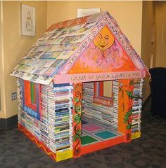 Book Nook, at the Iowa City Public Library Children's Room, built by Nathan Nissen with art by Deanne Wortman & Eric Wortman Auction Projects, Class Projects, Auction Ideas, Welding Projects, Art Auction, Cool Forts, Forts Kids, Activities For Kids, Crafts For Kids