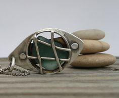 Handmade Jewelry by LjB: Caged Adriatic Beach Glass Pendant