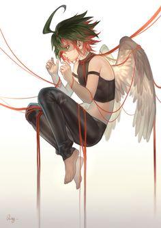 Pixiv Id 7122686, Yu-Gi-Oh!, Yu-Gi-Oh! ARC-V, Sakaki Yuya, Exposed Shoulders, Feather Wings