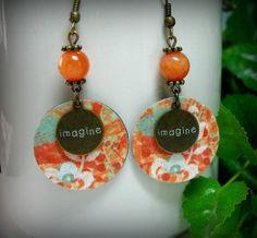 Vibrant - Orange Jade Beaded Vintaj Brass Dangle Handmade Earrings