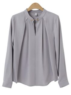 Plus Size Formal Gray Pleated Blusas Spring Women Casual Oversize Slim Blouse Tops 2018 Full Sleeve Ladies Blouses Light Gra Formal Blouses, Formal Shirts, Formal Tops For Women, Mode Outfits, Fashion Outfits, Ladies Fashion, Fashion Ideas, Blouse Models, Stylish Shirts