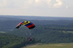 """Experience flying in a powered parachute. """"SuperDave,"""" as he is known locally, owns Kentucky Powered Chutes, a company that sells and services double- and single-seated powered parachutes and offers flight instruction. He's been at it since 1983 when he became the first dealer in Kentucky and one of the first pilots of these affordable machines."""