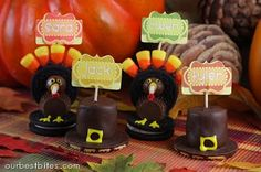 Turkeys are Double Stuff Oreo Cookies; Candy Corn; Whoppers; Peanut butter Cups; Chocolate frosting; Yellow Frosting; Optional: Red frosting; Optional: black sprinkles for eyes  Pilgrim hats are the chocolate fudge striped cookies with a chocolate dipped marshmallow.  I love these!  May have to do these for placecards this year!