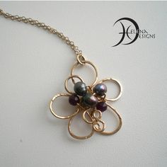 Goldfilled  hammered wire flower necklace with by Helenadesignsart
