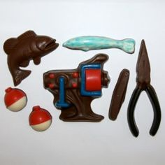 Reel in some Yummy Chocolates! Set Includes: Fishing Lure, Bobber set, Pocketknife, Chocolate Fish and more!