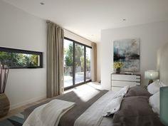 Einrichtungsideen Schlafzimmer grau weiß mit Balkon - Haus Concept-M 211 Bien Zenker - HausbauDirekt.de
