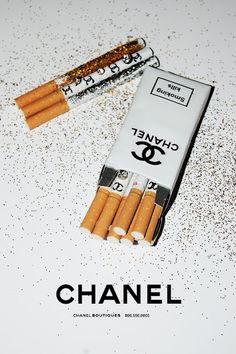 Oh so glamorous and chic Chanel cigarettes. Art as style after Coco's own three-packs-a-day heart.