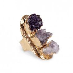 Sole Society Accessories - Linear Amethyst Ring - Purple Multi