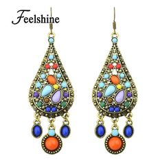 Bohemian Colorful Gemstone Drop Earrings