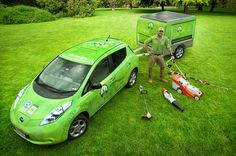 Nissan Leaf with solar trailer being used in Brisbane Australia for mowing/gardening business, truly clean and green, everything solar powered including the car