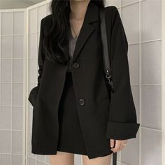 OFF Suit Skirts Blazer Black Formal Women Casual Workwear No Notched Coat Korean Girl Fashion, Korean Street Fashion, Ulzzang Fashion, Look Fashion, Fashion Black, Autumn Fashion, Korean Dress, Korean Outfits, Kpop Fashion Outfits