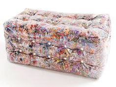the upholstery is made of PE plastic encased fabric shreds