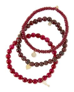 TrulyNM: Sydney Evan red beaded bracelet set with charms