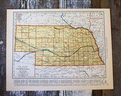 Image of Vintage Nebraska Map