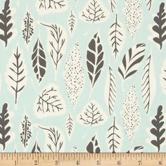 Art Gallery Hello Bear Leaflet Eucalyptus from @fabricdotcom  Designed by Bonnie Christine for Art Gallery Fabrics, this cotton print is perfect for quilting, apparel and home decor accents. Art Gallery Fabric features 200 thread count of finely woven cotton. Colors include aqua, cream, and grey.