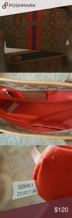 🍉Coach Varsity Stripe Zip City Tote,🍉 NWT Coach Varsity Stripe Zip City Tote. BNWT never used smoke free pet free home.  I have this available in a set in my closet with a cosmetic bag 17 and a wristlet. Bundle to save 30%!!!🤤🤤🤤🤤 Make reasonable offer I will accept the offer if respectable.  Please account for Posh's 20% buyer/ seller protection profit.   Keep Poshing! coach Bags Totes
