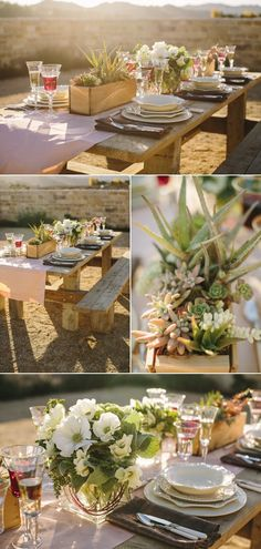 Rustic wedding with picknick table