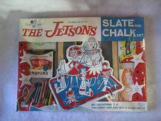 1960's Vintage The Jetsons Hanna Barbera Slate Chalk Set Standard Toykrafts