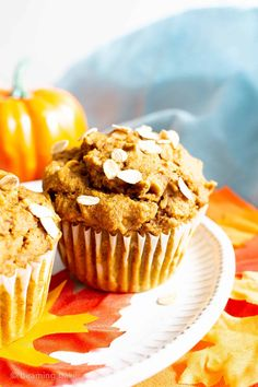 Healthy Pumpkin Oatmeal Muffins (Vegan, Gluten Free, Dairy-Free, Refined Sugar-Free) - Beaming Baker