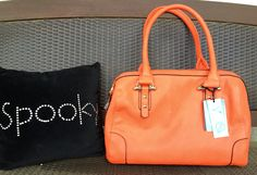 Orange Handbag...perfect bag for Fall. Adds that little pop of color !