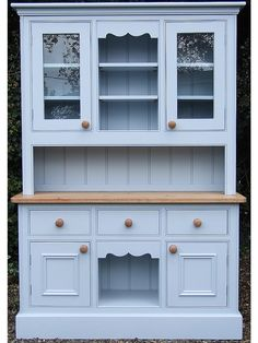Large Victorian Painted Pine Welsh Dresser In Farrow Ball Parma Gray