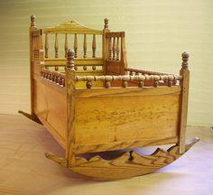 Wooden baby cradle. ADORABLE!