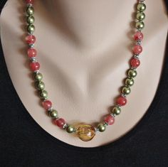 Venetian Blown Glass Green and Red Striped Bead, Swarovski Crystal Pearls, Cherry Quartz Glass Beads and Bali Sterling Silver