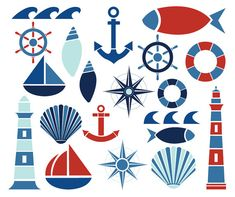 Nautical Clip Art, perfect for DIY creative projects. 20 transparent 300dpi PNG images. #nautical #clipart #sailboat #seashells #lighthouse #compass #marineimages