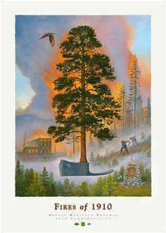Fires of 1910 #burning #dnrc #fire #firefighters #fires-of-1910 #forest-service #history #monte-dolack #owl #ponserosa-pine #pulaski #tree #usda #wallace-idaho