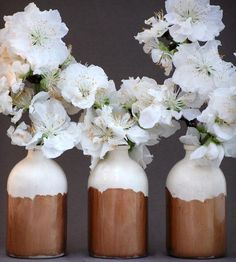 White and Copper Bud Vases - Set of 3 by @Honeycomb Studio on Scoutmob Shoppe. Store bouquets of spring sprigs in these small bud vases, glazed with a glossy clear glaze so the white clay can shine through, and reap the compliments.