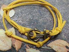bronze anchor men bracelet - yellow leather wrap mens bracelet - small charm bracelet for men - gift for him, for men. $12.00, via Etsy.