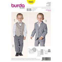 Burda Style Pattern 9443 Evening Wear - for vest for ring bearer? Burda Sewing Patterns, Childrens Sewing Patterns, Clothing Patterns, Costume Garçon, Gilet Costume, Suit Pattern, Boys Suits, Vest Jacket, Pattern Fashion