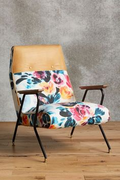 NEED this chair #chair #floral #leather #homedecor